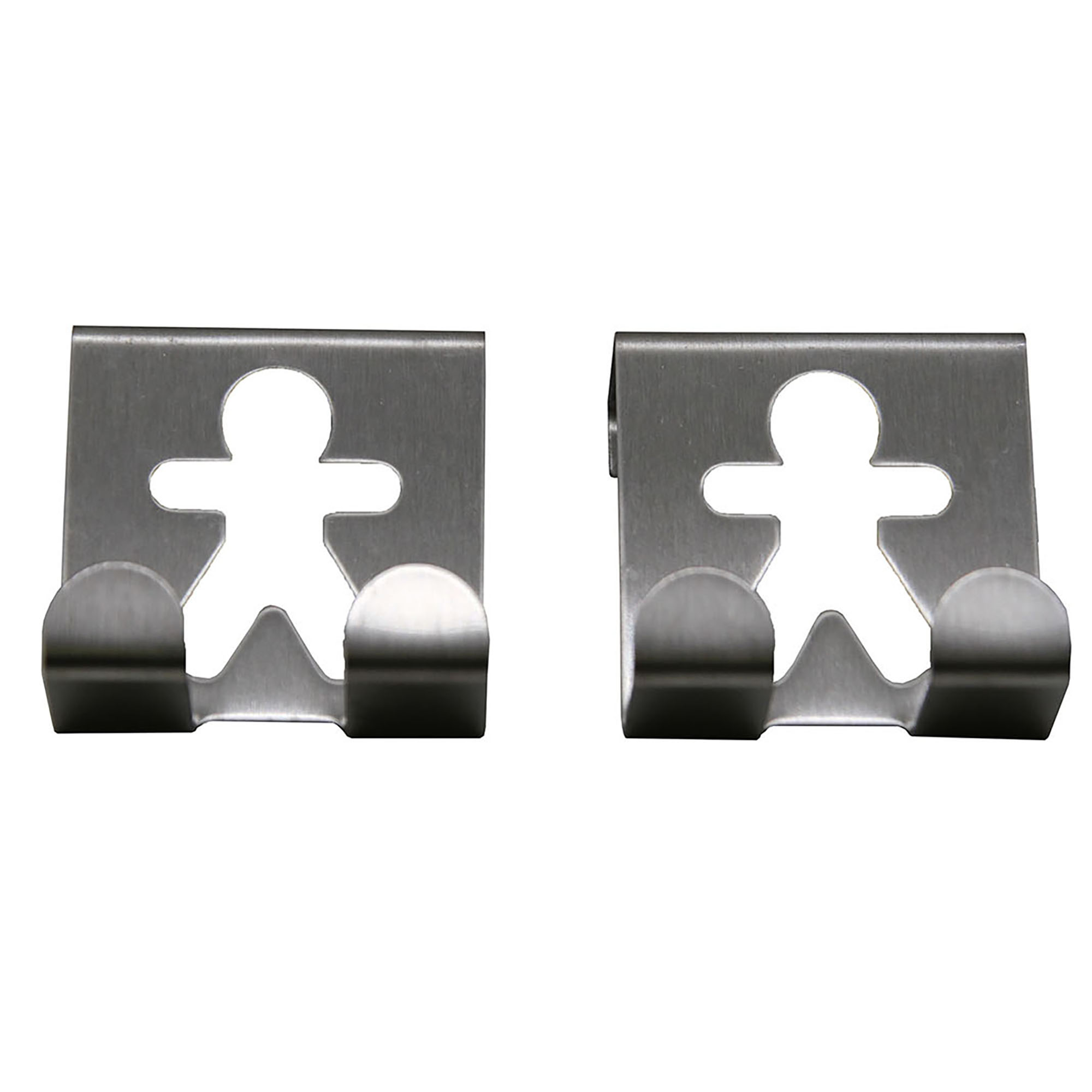 Over The Cabinet Door Double Hooks - Man Man Design- Set of 2- Chrome- Stainless Steel