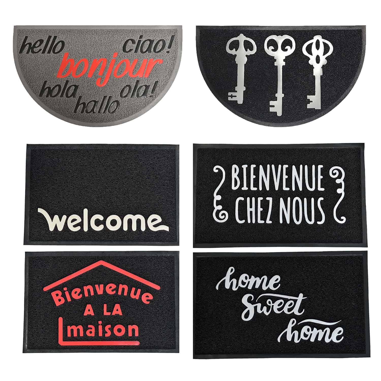 Outdoor Printed Front Door Mat French Bienvenue Chez Nous PVC Rug 30x18 Black