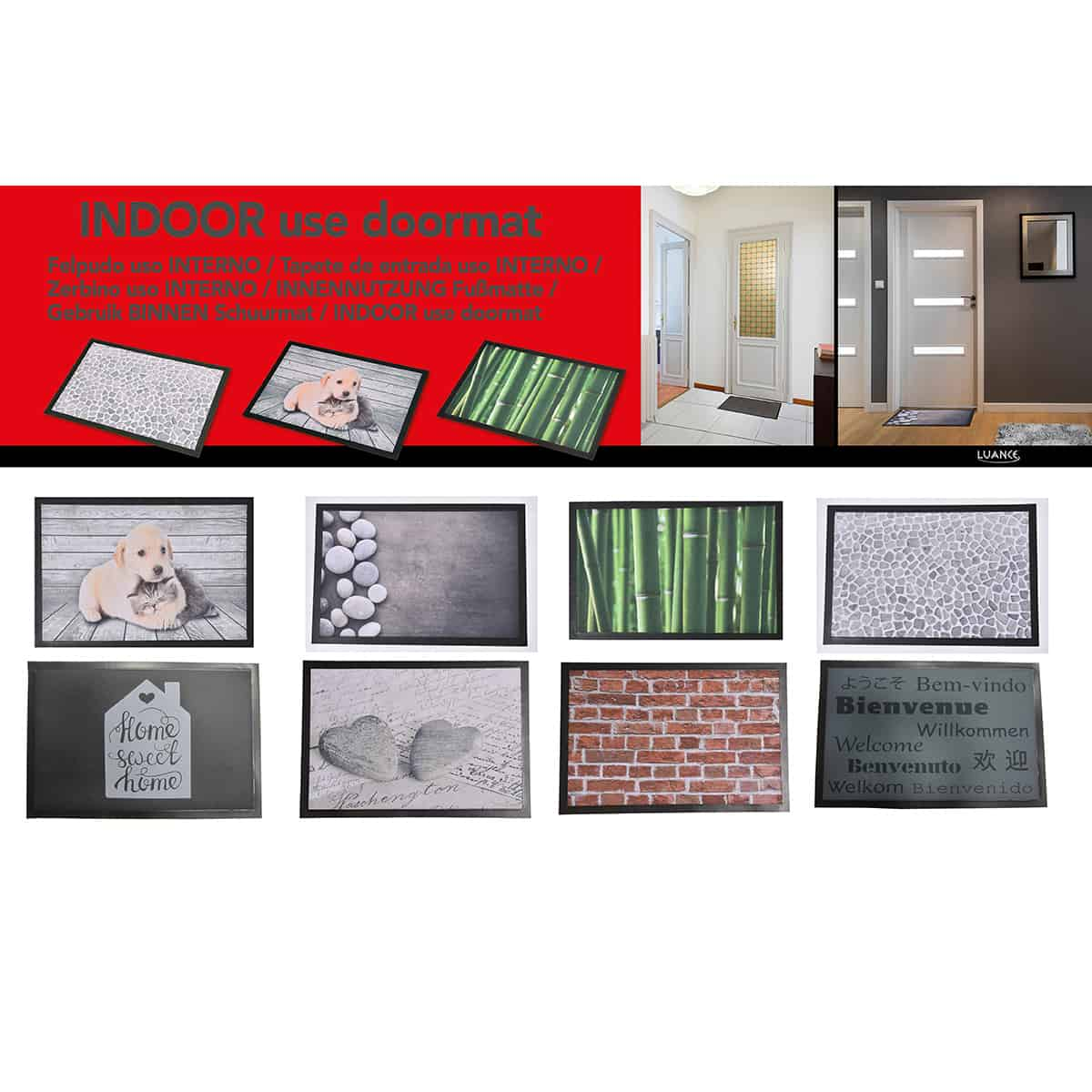 Indoor Printed Door Mat Heart Stones PVC Polyester Rug 24x16