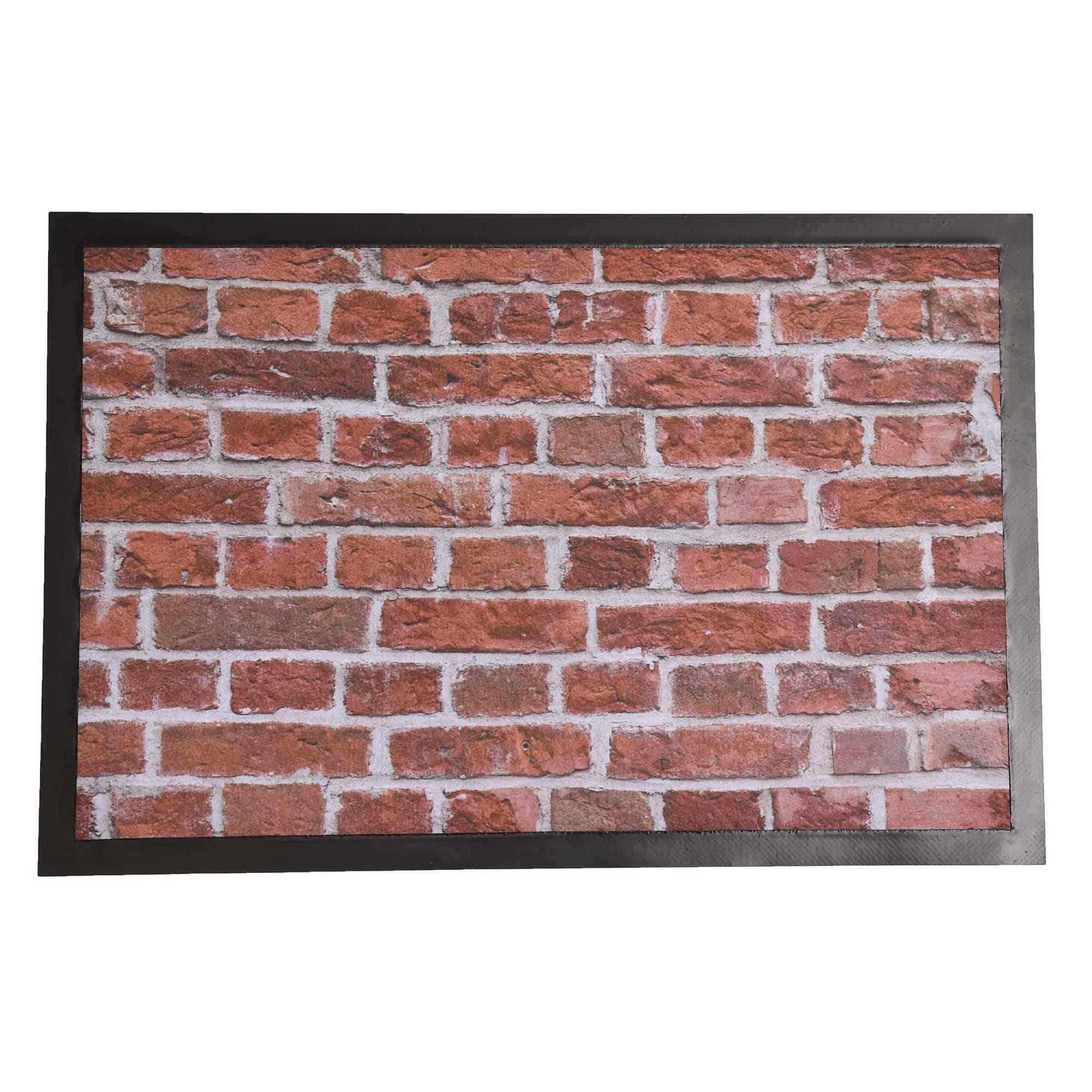 Indoor Printed Door Mat Brick Wall PVC Polyester Rug 24x16
