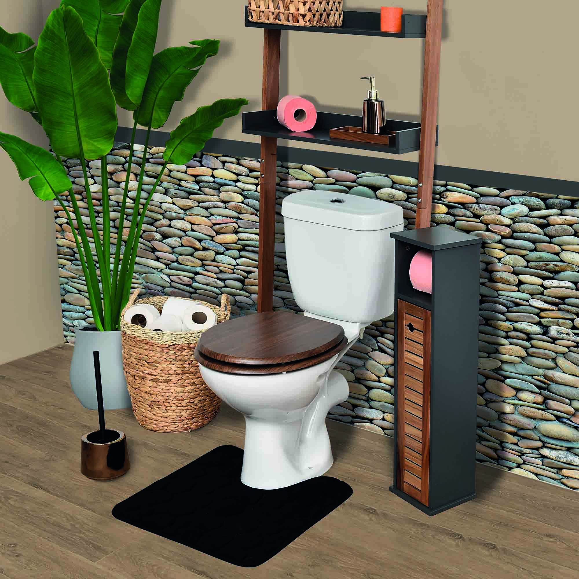 2 in 1 Toilet Roll Holder and Storage Unit Cabinet Elements Acacia Grey