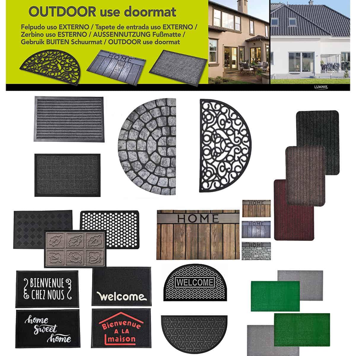 Outdoor Half Round Front Door Mat Rubber Rug 30x18 Black