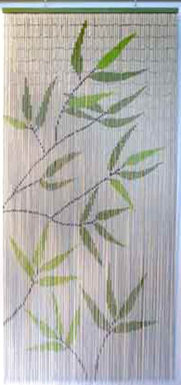 Bamboo Sticks Leaves Beaded Curtain 90 Strings Green